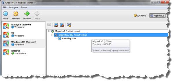 VirtualBox kopie migawkowe