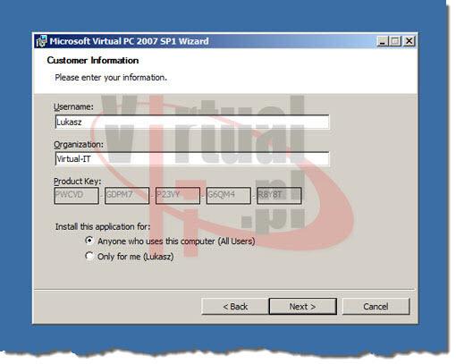 Virtual PC instalacja